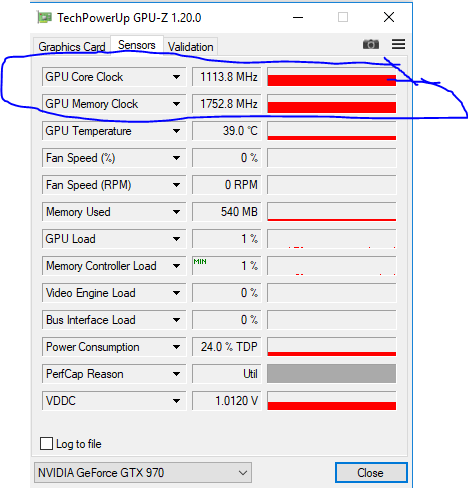 graphics card clock speed